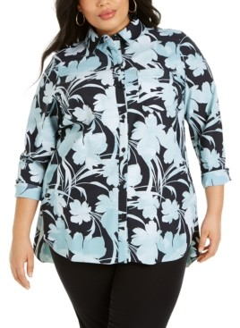 Alfani Plus Size Printed Knit Boyfriend Shirt, Created for Macy's