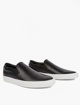Common Projects Black Leather Slip-On Sneakers