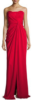Badgley Mischka Silk Sweetheart Column Gown, Red