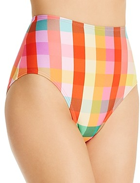 Kate Spade Printed High-Waist Bikini Bottom