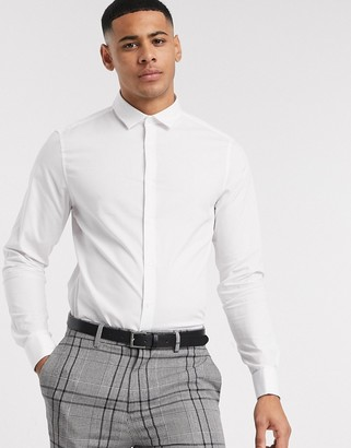 ASOS DESIGN stretch slim fit work shirt with double cuff in white