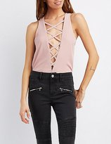 Charlotte Russe Plunging Lattice-Front Bodysuit