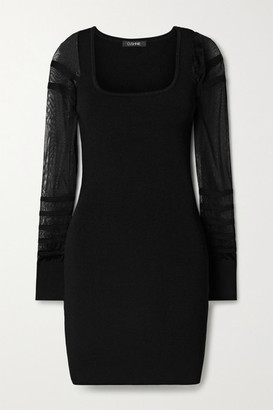 Cushnie Paneled Ribbed-knit Mini Dress - Black