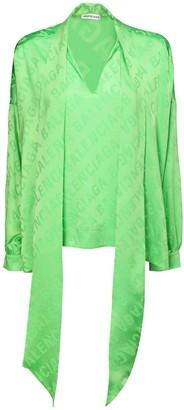 Balenciaga Logo Jacquard Silk Satin Shirt