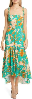 Johanna Ortiz Twist Strap Print Linen Midi Dress