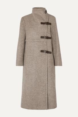 Isabel Marant Natacha Leather-trimmed Wool-blend Coat - Beige