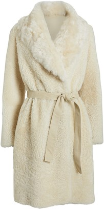 Yves Salomon Reversible Shearling Belted Coat