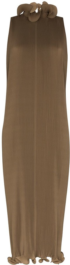 Tibi Sleeveless Plisse Silk Dress