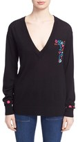 Tanya Taylor Women's 'Lucy' Embroidered V-Neck Sweater