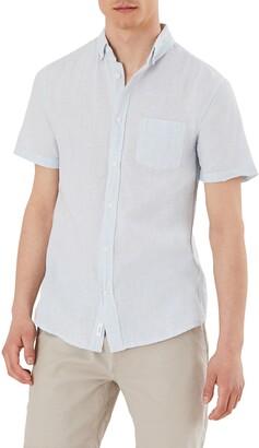 Onia Short Sleeve Button-Down Pinstripe Linen Blend Shirt