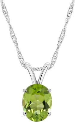 Oval Semi-Precious Gemstone Pendant w/ Chain, Sterling Silver
