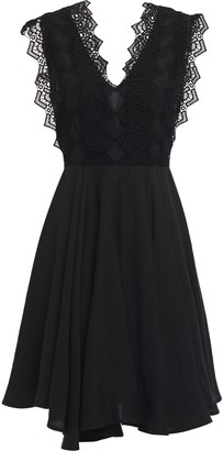 Sandro Evo Asymmetric Guipure Lace-paneled Twill Mini Dress