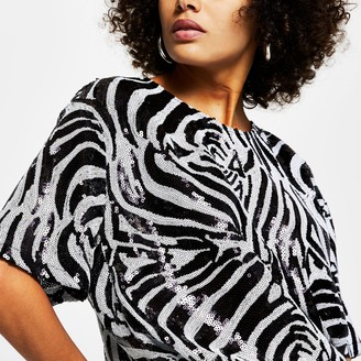 River Island Womens Black short sleeve zebra print sequin t-shirt
