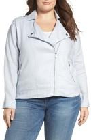 Plus Size Women's Two By Vince Camuto Drapey Linen Moto Jacket