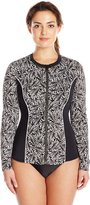 Fit 4 U Women's Twisted Long Sleeve Rashguard with Built-In Bra and Upf 50
