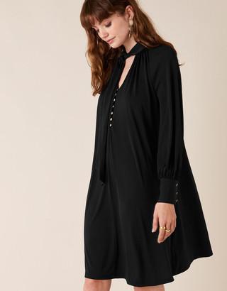 Monsoon Tie-Neck Smart Short Jersey Dress Black