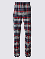 M&S Collection Pure Cotton Checked Long Pyjama Bottoms
