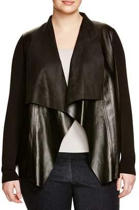 MICHAEL Michael Kors Faux Leather Drape Cardigan