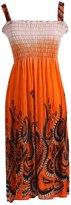 2LUV Women's Exotic Floral Prints Easy-Fit Midi/Mini Summer Beach Dress with Shoulder Straps Orange L (JD-042-F-Orange)