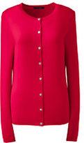 Lands' End Women's Cashmere Cardigan Sweater-Dark Cobalt Blue Geo Floral