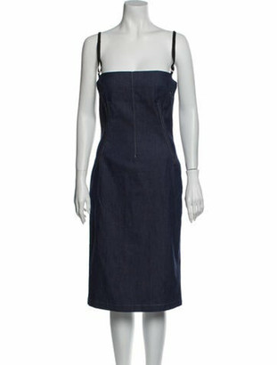 Dolce & Gabbana Square Neckline Mini Dress Blue