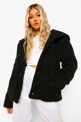 boohoo Tall Hooded Faux Fur Teddy Coat