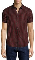 John Varvatos Check Cotton Slim-Fit Short-Sleeve Sport Shirt