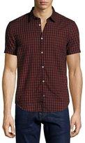 John Varvatos Foliage-Print Slim-Fit Short-Sleeve Sport Shirt, Black