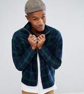 Reclaimed Vintage Inspired Zip Thru Jacket In Tartan Fleece