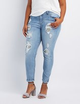 "Charlotte Russe Plus Size Refuge Embellished """"Skinny Boyfriend"""" Destroyed Jeans"