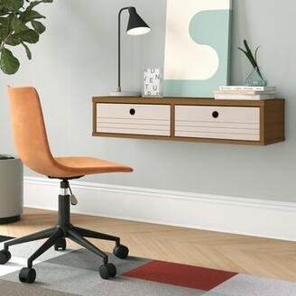FoundstoneTM Hayward Solid Wood Floating Desk Foundstone Color: Cinnamon/Off White