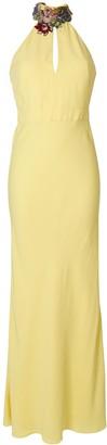 Alexander McQueen Gemstone Floral Neckline Gown
