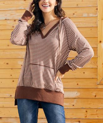 Suzanne Betro Weekend Women's Sweatshirts and Hoodies 101CAMEL/WHITE - Camel & White Stripe Hoodie - Women & Plus