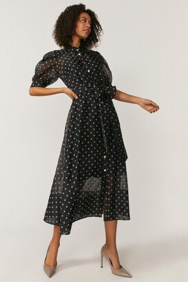 Coast Spot Organza Puff Sleeve Dress