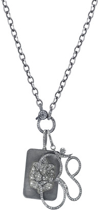 Ganesh Sheryl Lowe Link Chain Necklace with Diamond Dog Tag & Om Pendants
