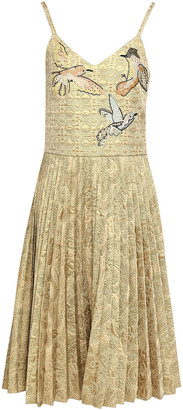 RED Valentino Appliqued Pleated Metallic Brocade Dress