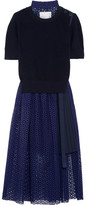 Sacai Knitted And Broderie Anglaise Cotton Midi Dress - Navy