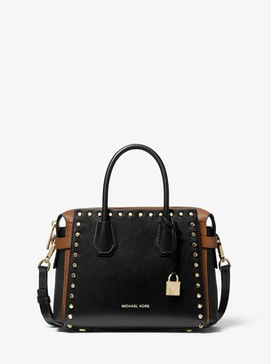 MICHAEL Michael Kors Mercer Small Studded Leather Belted Satchel