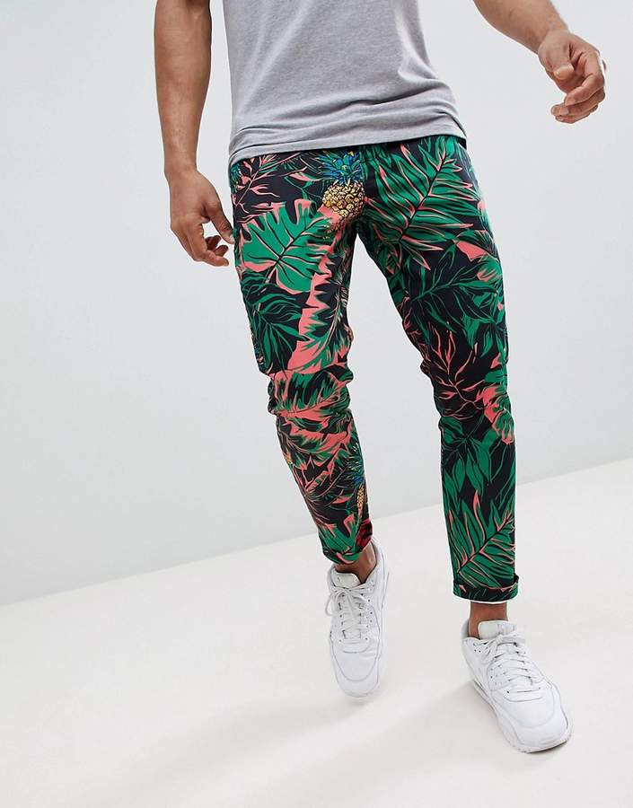 Asos Design Skinny Cropped Trousers In Abstract Pineapple Palm Print