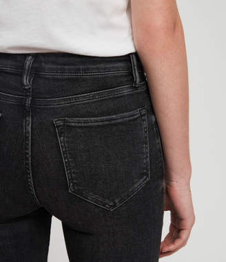 AllSaints Grace Ankle Fray Skinny Mid-Rise Jeans, Washed Black