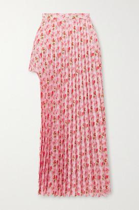 Vetements Floral-print Plisse-crepe Midi Skirt - Pink