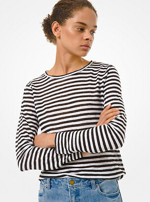MICHAEL Michael Kors MK Striped Linen Long-Sleeve T-Shirt - Black/white - Michael Kors