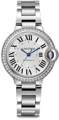 Cartier Ballon Bleu de Stainless Steel & Diamond Bracelet Watch/33MM