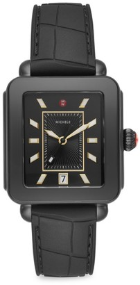 Michele Deco Sport Black Embossed Silicone Watch