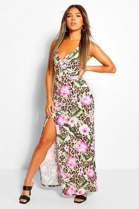 boohoo Petite Leopard Rose Print Split Maxi Dress
