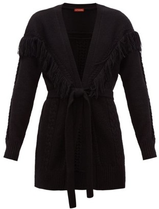 Altuzarra Trailblazer Fringe-trim Belted Cardigan - Womens - Black