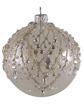 clear Christmas Shop Orn-Bauble W/ Silver Bead Drops And Gems 10Cm