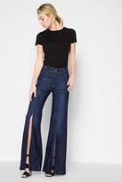 7 For All Mankind Palazzo Pant With Front Seam Split In Deep Blue