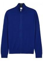 Paul Smith Blue Zipped Merino Wool Cardigan