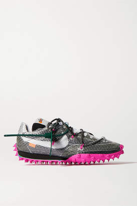 Nike Off-white Waffle Racer Ripstop, Suede, Mesh And Rubber Sneakers - Black